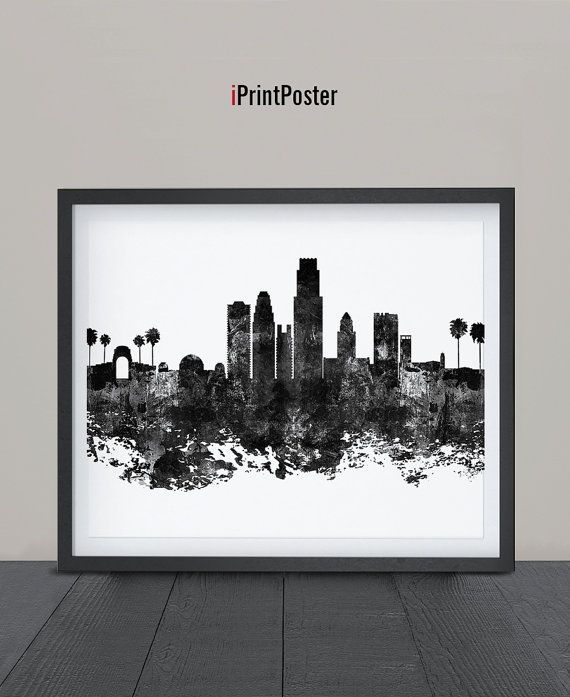 Los Angeles Abstract Los Angeles Skyline California Print Art Poster La Print Wall Art La Cityscape Grun Los Angeles Skyline Poster Art California Print