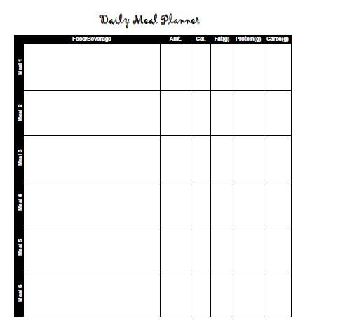 Printable sheet to help you plan your daily meals Printable Meal - daily menu planner template