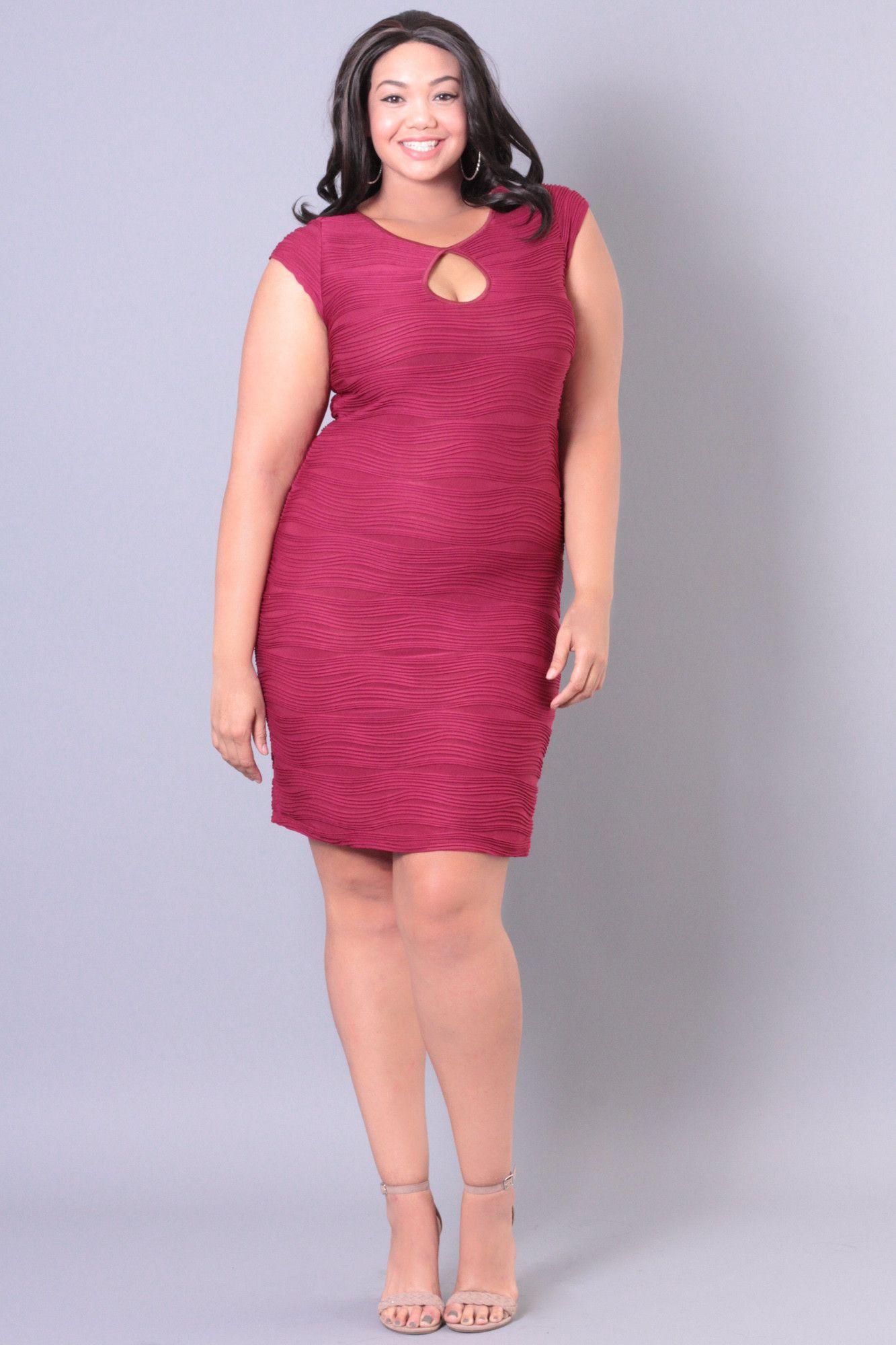 Plus Size Keyhole Bodycon Dress - Burgundy   vestidos plus ...