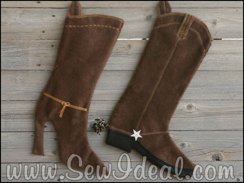 Western & High Heel Christmas Stocking Boots