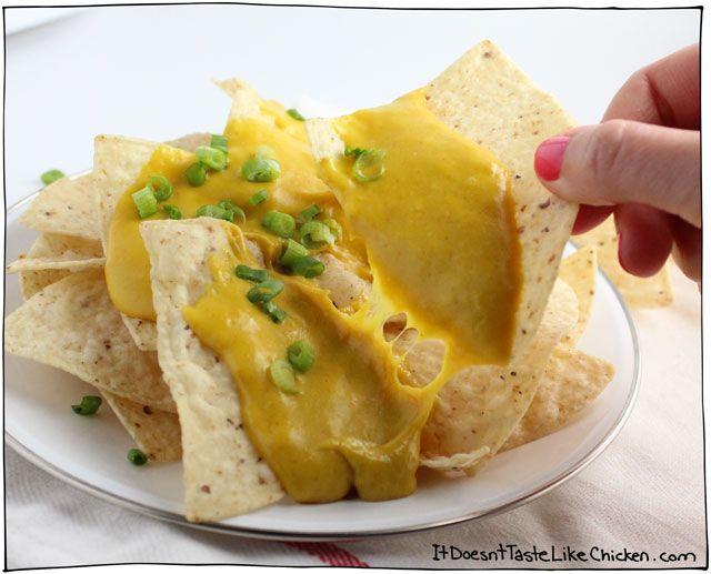 Melty Stretchy Gooey Vegan Nacho Cheese Recipe Vegan Nachos Cheese Vegan Cheese Recipes Vegan Nachos