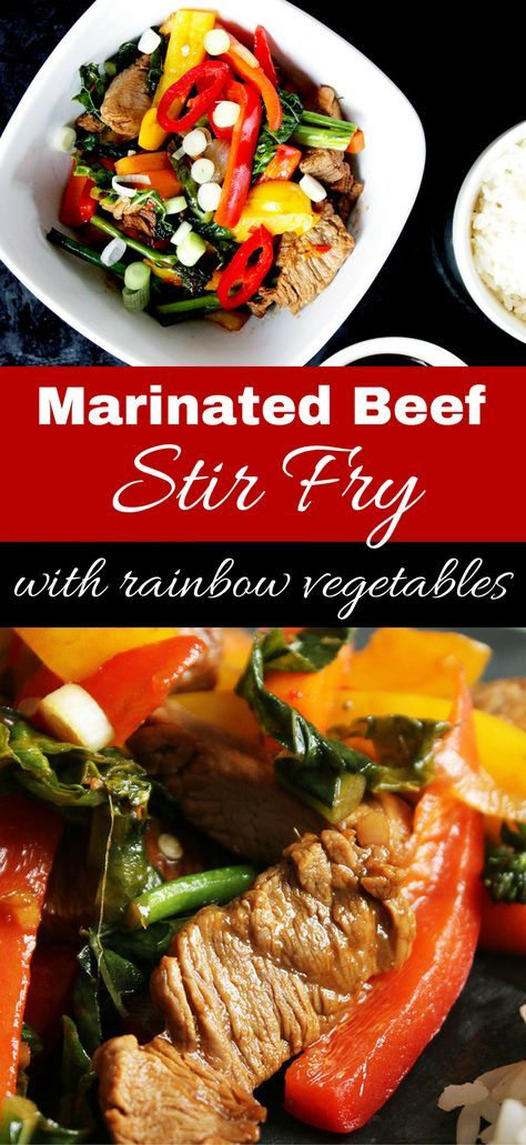 Marinated Beef Stir Fry with Rainbow Vegetables via @Slow The Cook Down
