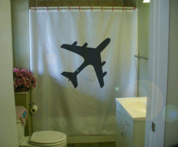Yes Airplane Shower Curtain Airplane Decor Jumbo Jet Kid Bathroom Decor