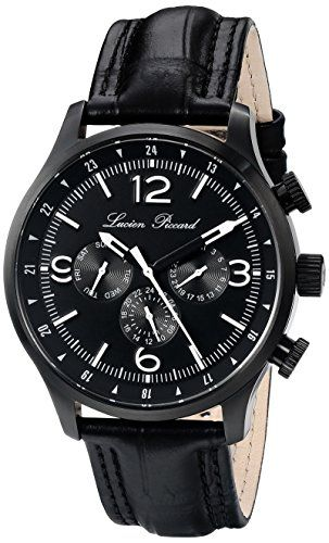 Men's Wrist Watches - Lucien Piccard Mens LP13013BB01 Avalon Analog Display Swiss Quartz Black Watch * Learn more by visiting the image link.