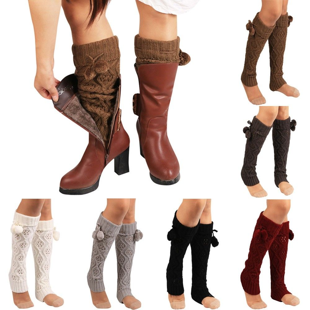 Women Over The Knee Thick Leg Warmers Winter Warm Knitted Boots Cuffs Long Socks