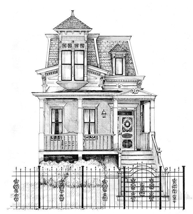 Custom Home Drawings By Cape Horn Illustration House Drawing Building Drawing Architecture Drawing