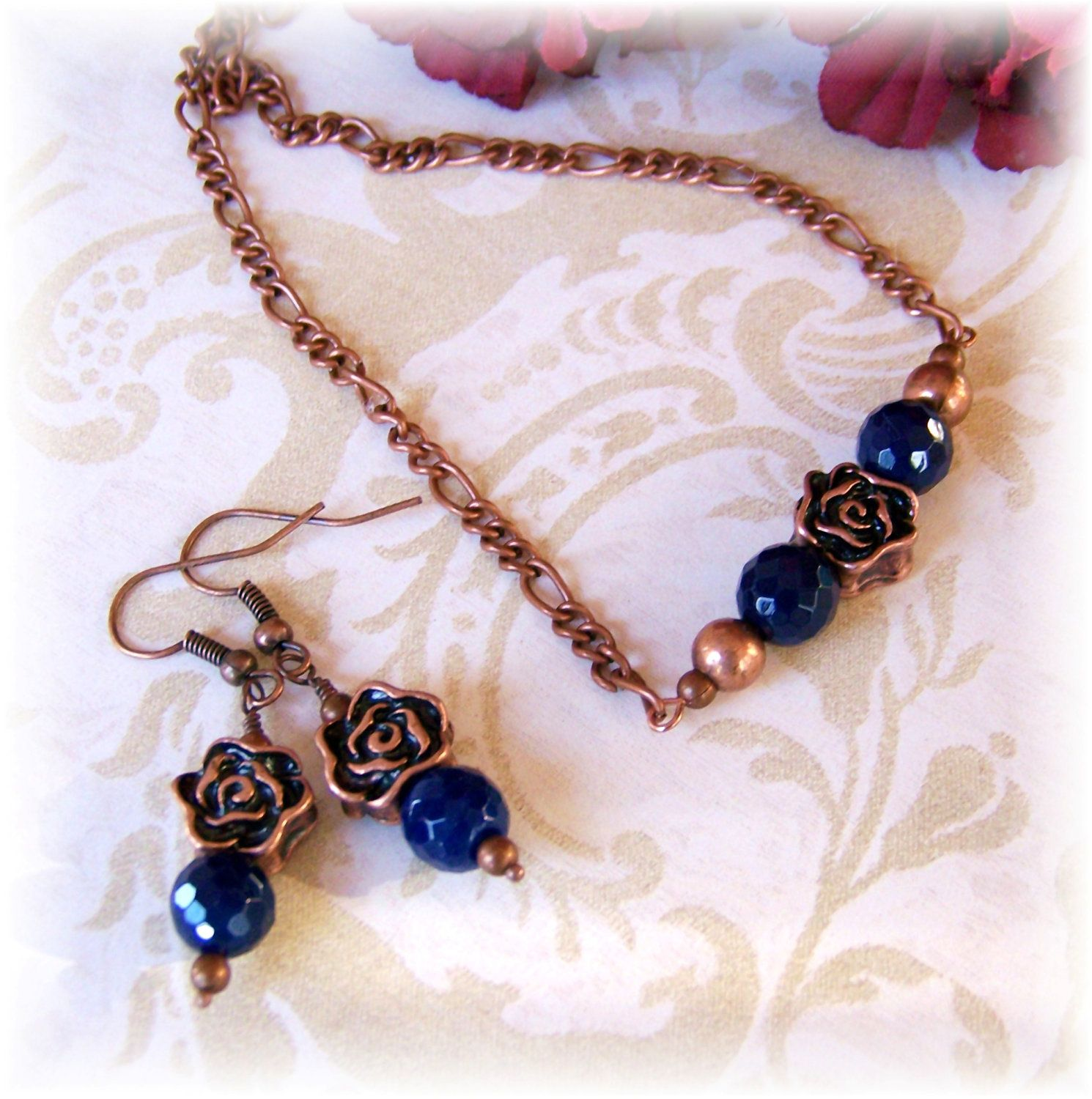 Cobalt blue copper rose necklace and earrings set agate modern