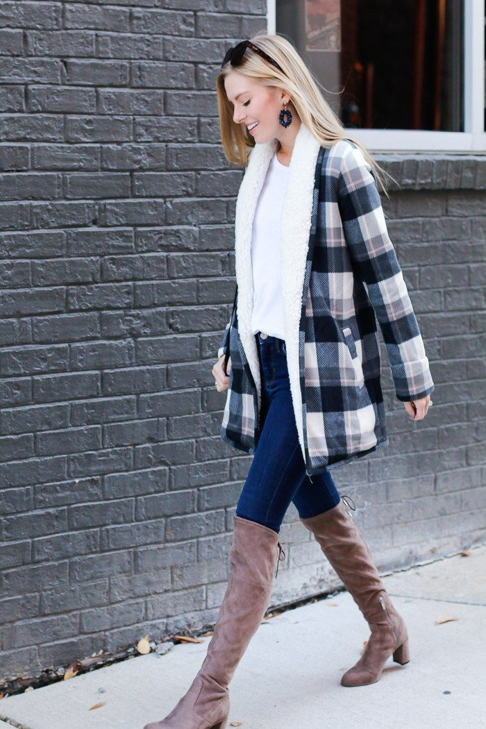 a cozy sherpa lined cardigan otk boots on life with