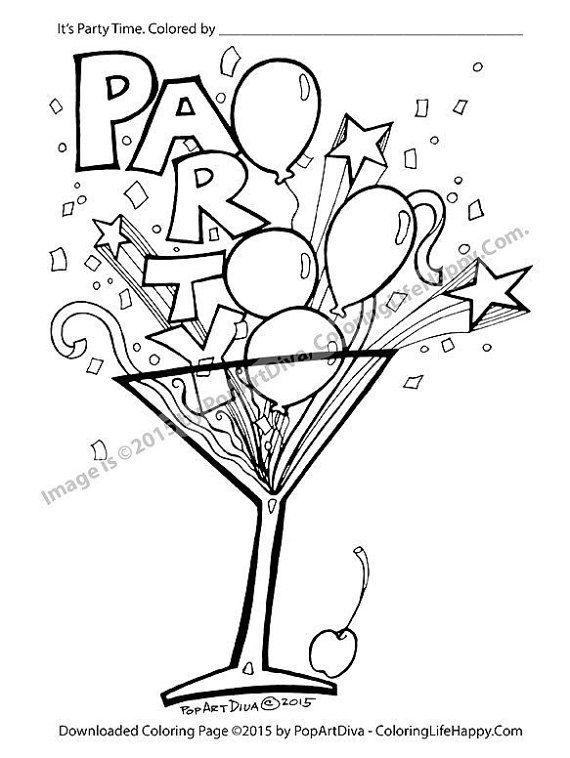 Fun Balloon Confetti And Streamer Filled Martini Glass On A Printable