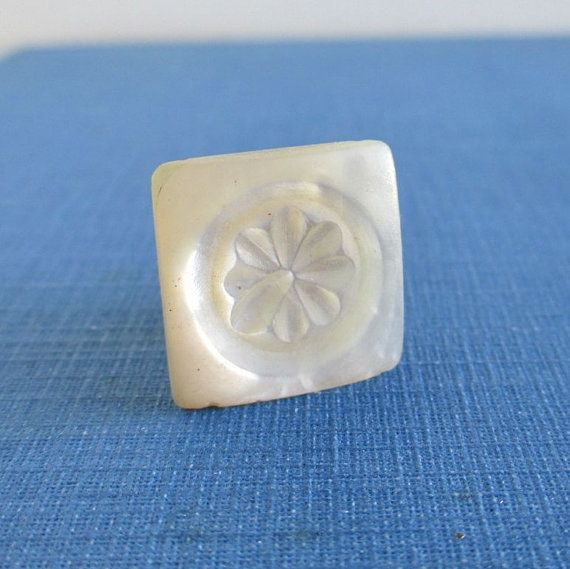 Antique Shirt Collar Button - Carved Pearl Flower