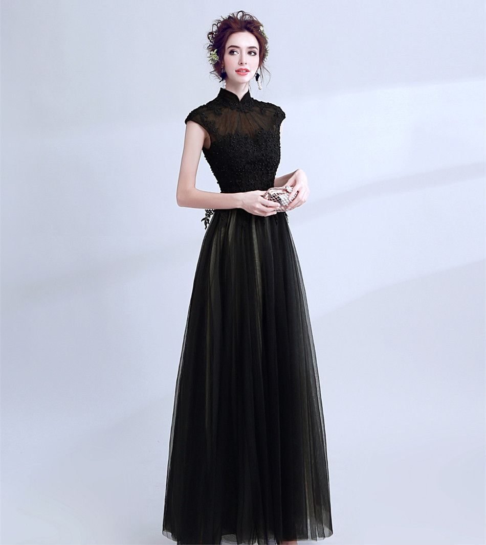 c66d424b951 CEEWHY High Neck Vintage Evening Dress Elegant Prom Formal Dress Vestido De  Festa Black Embroidey Evening
