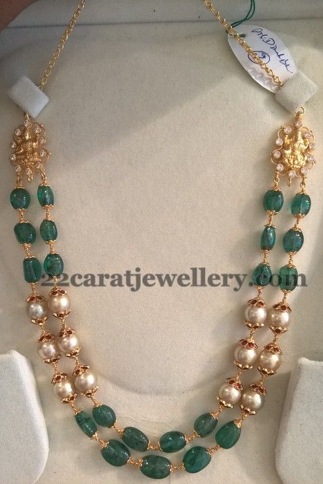 with sets wear pulimamidi beads carat pearls necklace gold necklaces by short western and black combination for set emerald sea jewellers jewellery sarees churidars south designs