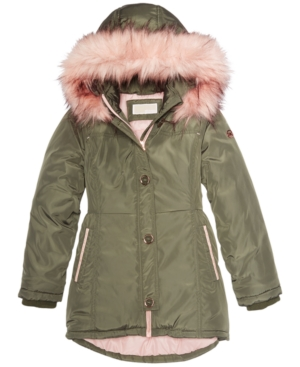 2aa98cb3ca57e Michael Michael Kors Big Girls Hooded Jacket with Faux-Fur Trim - Green M  (10 12)