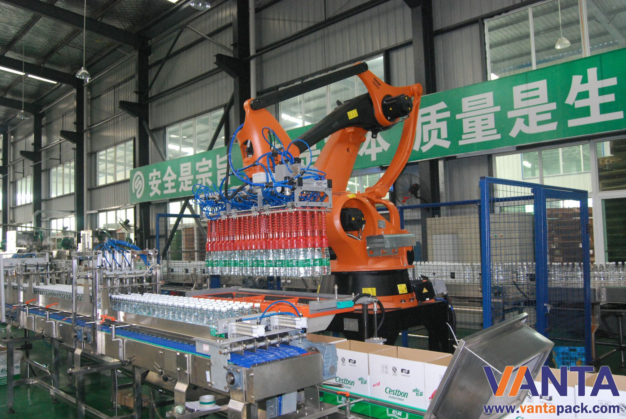 Kuka pick and place robot use for bottle packing line