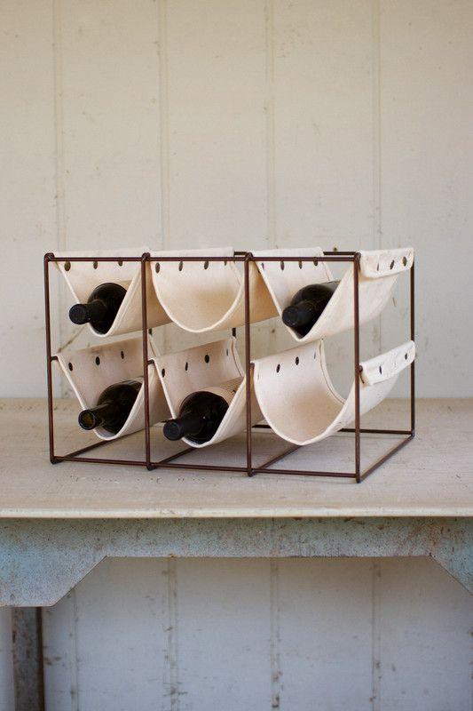canvas and iron wine rack