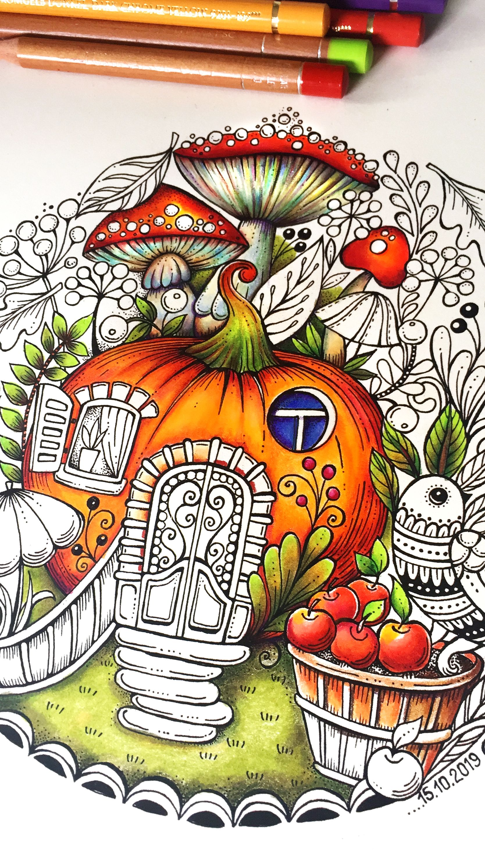 How To Color Pumpkin House Ritaberman Autumn Illustration Adultcolouringbook Passion Botanical C Halloween Coloring Photo And Video Instagram Photo
