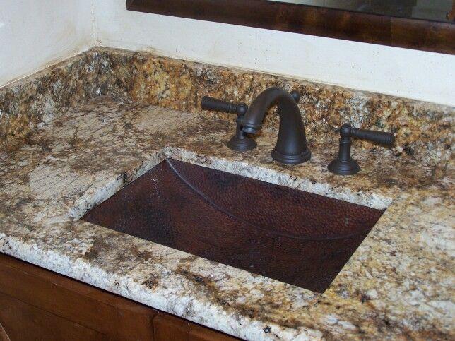 Hammered copper undermount sink with granite vanity jfe for Hammered copper undermount bathroom sink