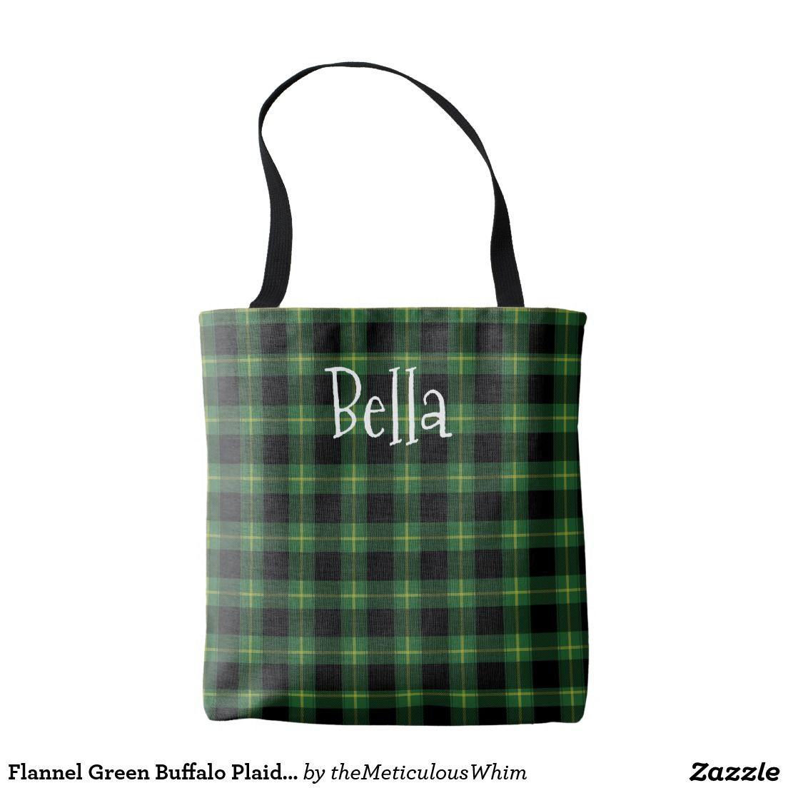 Flannel fashion makeup  Flannel Green Buffalo Plaid Pattern Name Template Tote Bag  Gift