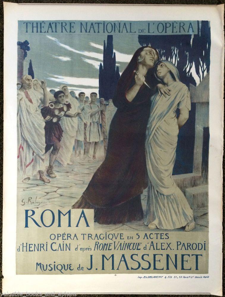 Original French Poster Antique Opera 1890s Paris ROMA Advertising Lithograph #ArtNouveau   Illustrazioni. Opera. Foto