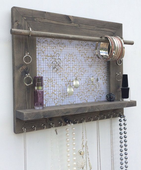 Jewelry Holder FREE SHIPPING Wood Wall Hanging Display Earring