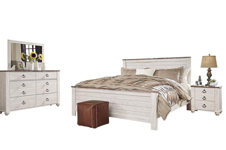 Ashley Willowton 4PC E King Panel Bedroom Set In White