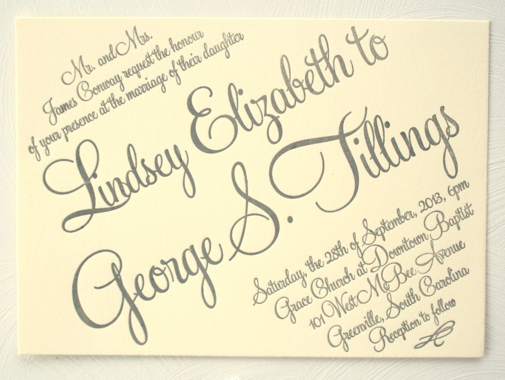 Letterpress Calligraphy Fonts Grey And Cream Wedding Invitation Available In Many Different Colors