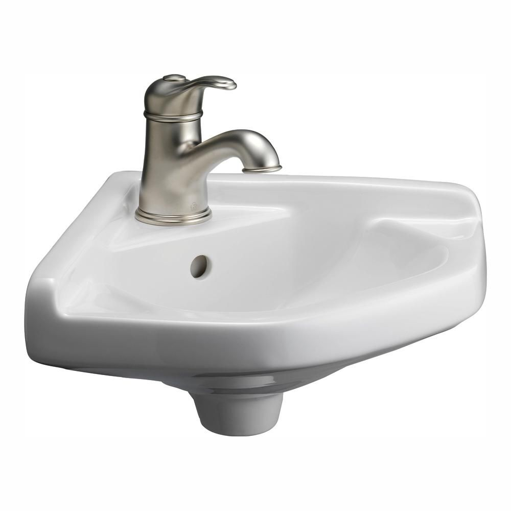 Barclay Products Corner Wall Mounted Bathroom Sink In White 4 750wh The Home Depot Corner Sink Bathroom Corner Wall Barclay Products