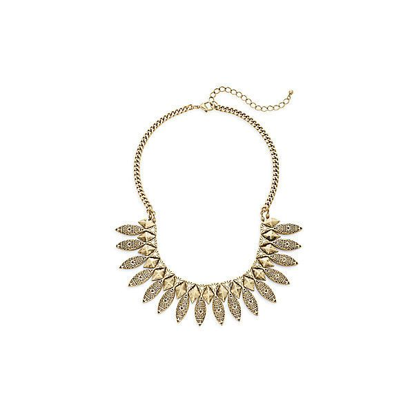 PUNCH Etched Statement Necklace ($9.99) ❤ liked on Polyvore featuring jewelry, necklaces, gold, sparkly necklace, sparkle jewelry, statement necklaces, etched jewelry and oxidized jewelry