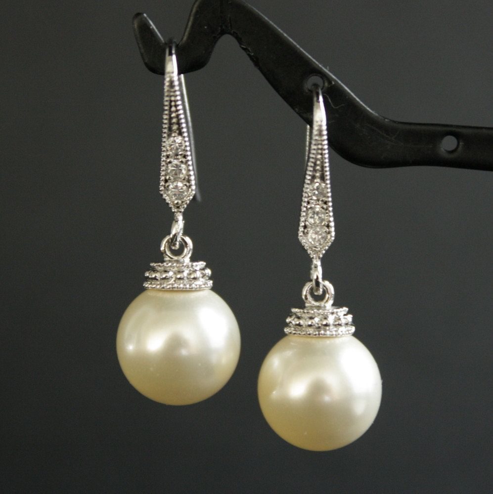 Wedding Earrings Pearl Cubic Zirconia Bridal Silver With Swarovski Cream Ivory Drops Jewelry 28 00 Via Etsy