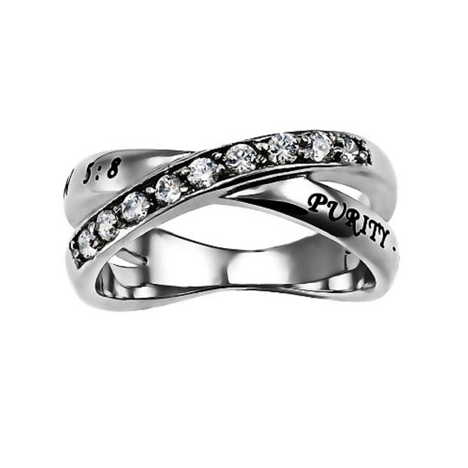 Purity Radiance Ring Silver Stainless Steel Cubic Zirconium With