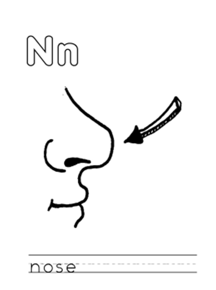Nose Free Alphabet Coloring Pages