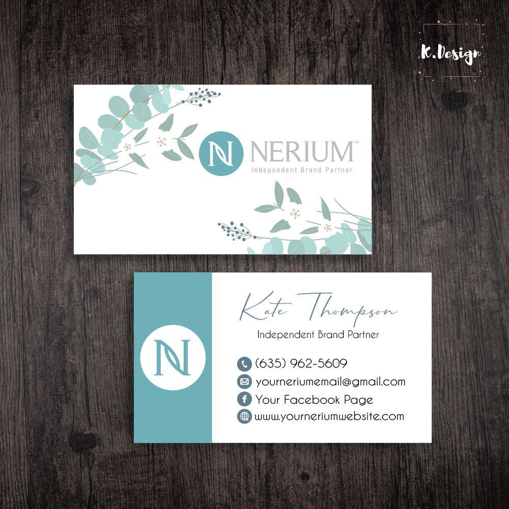 Personalized Nerium Business Cards Nerium Marketing Card Nerium Leaf Card Printable File Custom Business Card Ne03 Custom Business Cards Nerium Leaf Cards