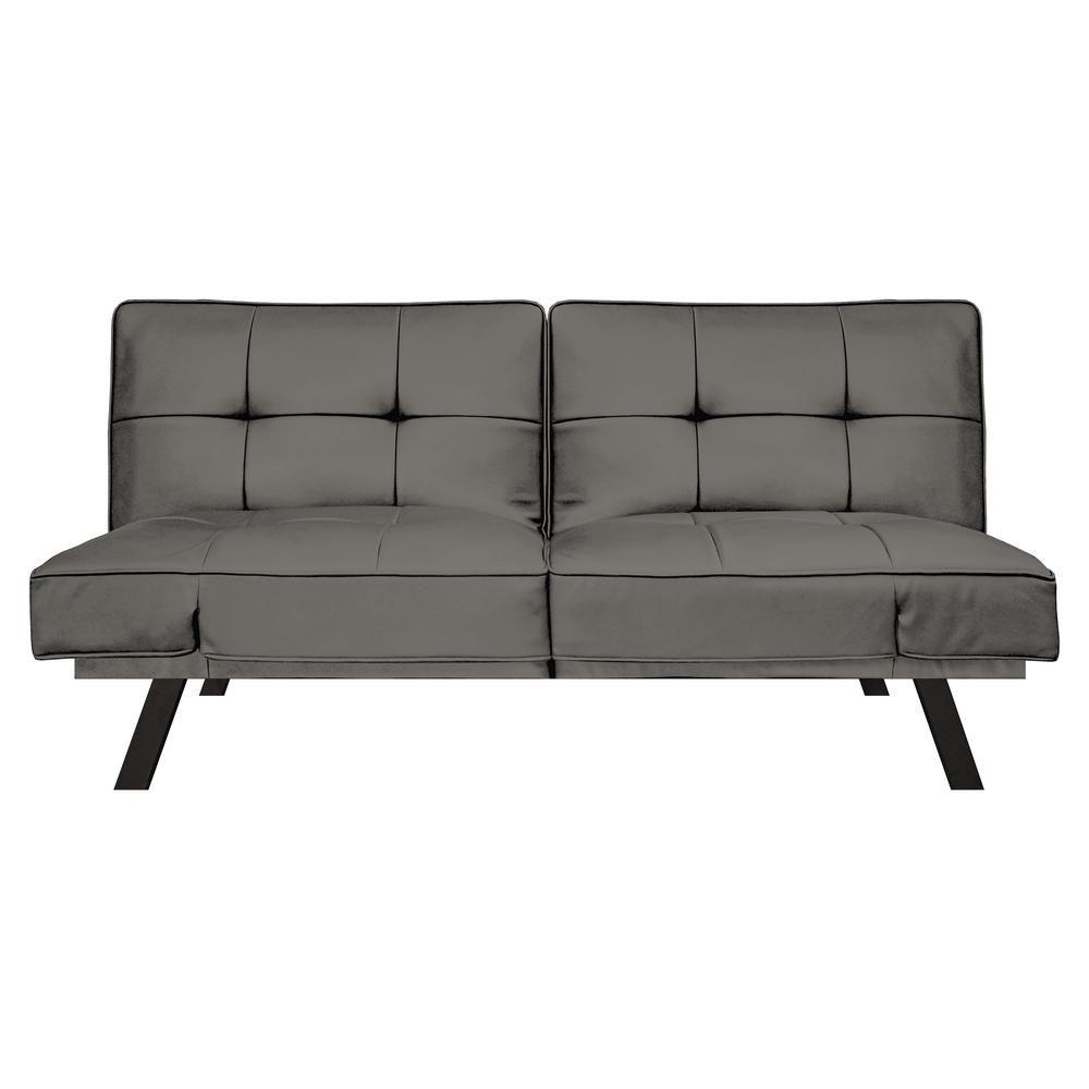 Serta Denver Dark Grey 3 Seat Convertible Faux Leather Sofa Faux