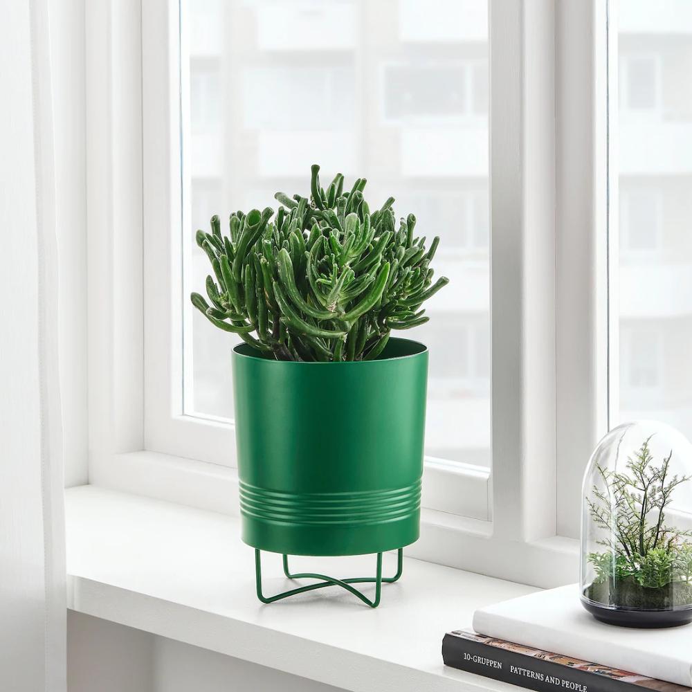 Granatapple Plant Pot With Stand Indoor Outdoor Dark Green Ikea In 2020 Potted Plants Flower Pots Ikea Plants