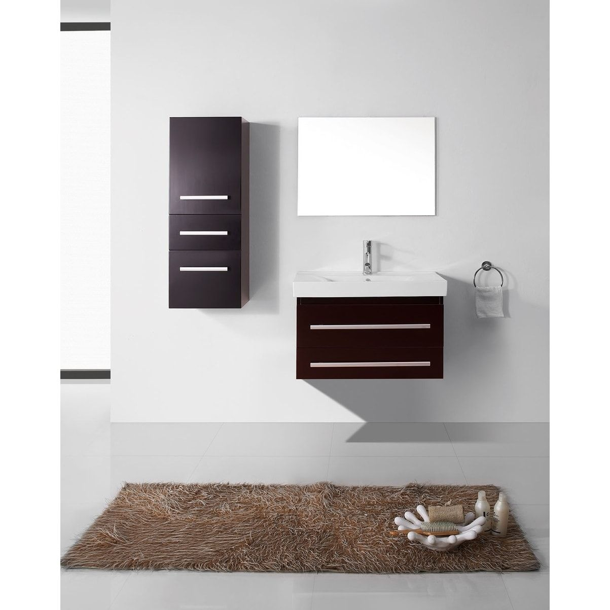 Virtu USA Antonio Brown/Grey Rubberwood/Ceramic 30-inch Bathroom ...