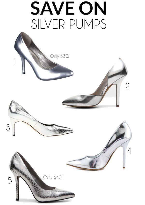 Silver pumps, Silver metallic pumps, Pumps