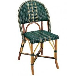 Beaufurn French Bistro Chair In Pattern: (I) Weave In Dark Green U0026 Gold