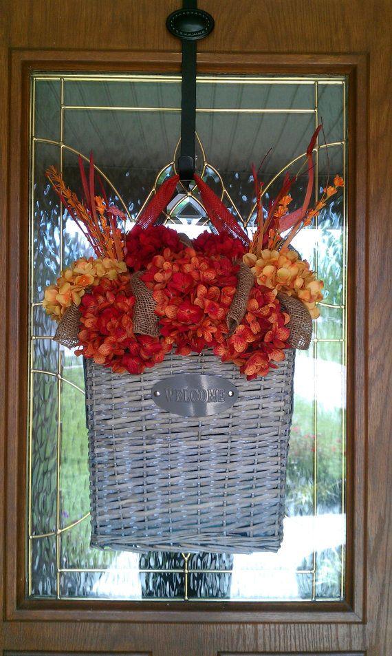 Fall Burlap Hydrangea Door Basket Wreath by simplystunninghome, $89.00