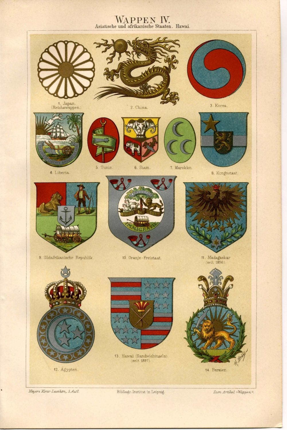 1894 Crests Orders Asian And African States By Antiqueprintstore