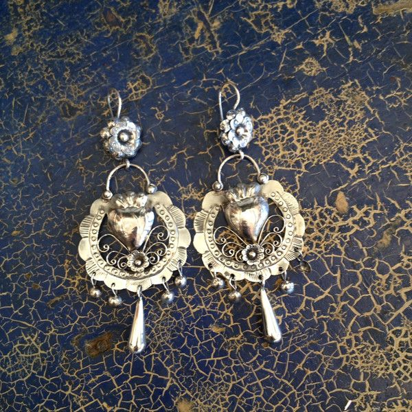 "Large Mazahua Earrings, Corazon con Flor, Sterling, 3.25"" Long"