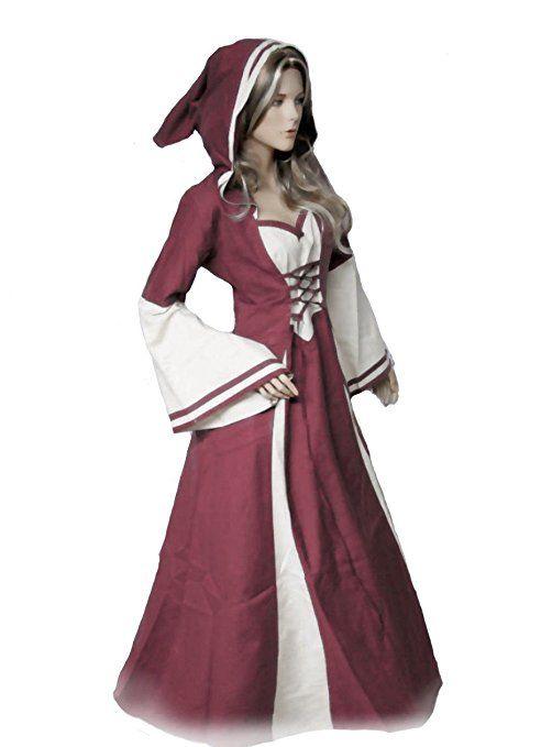 Dark Dreams Gothic Mittelalter Larp Kapuze Gewand Kleid Aurea Farbe