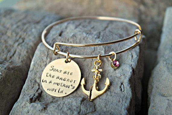 Mother Son Bracelet Anchor Charm