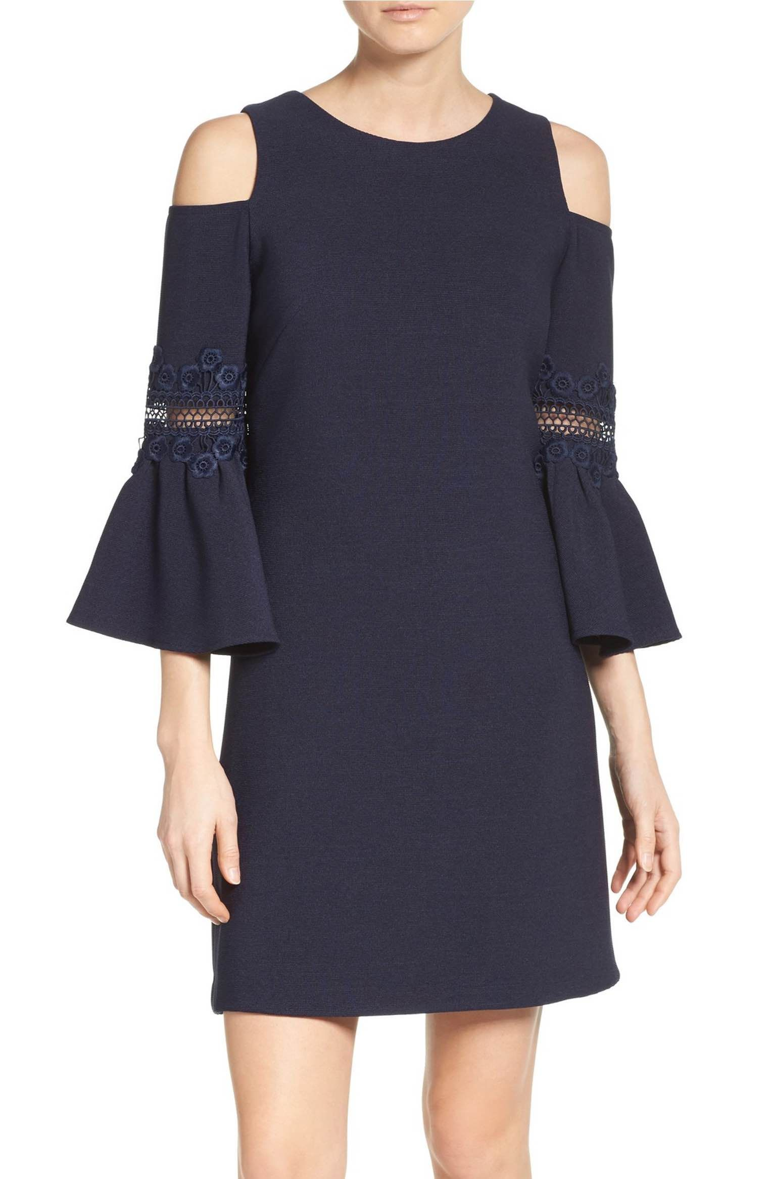 Lace appliqué crepe cold shoulder dress shoulder dress cold