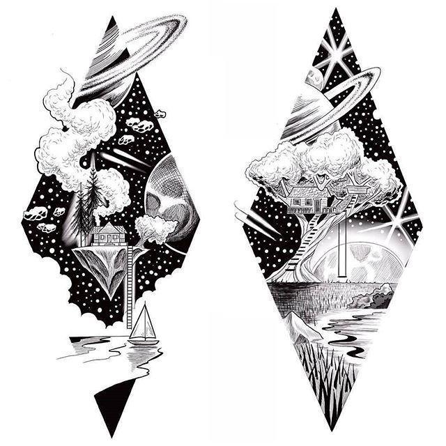 Geometric Tattoo  Black and white Pen Tat  Pinspace  Geometric Tattoo  Black and white Pen Tat