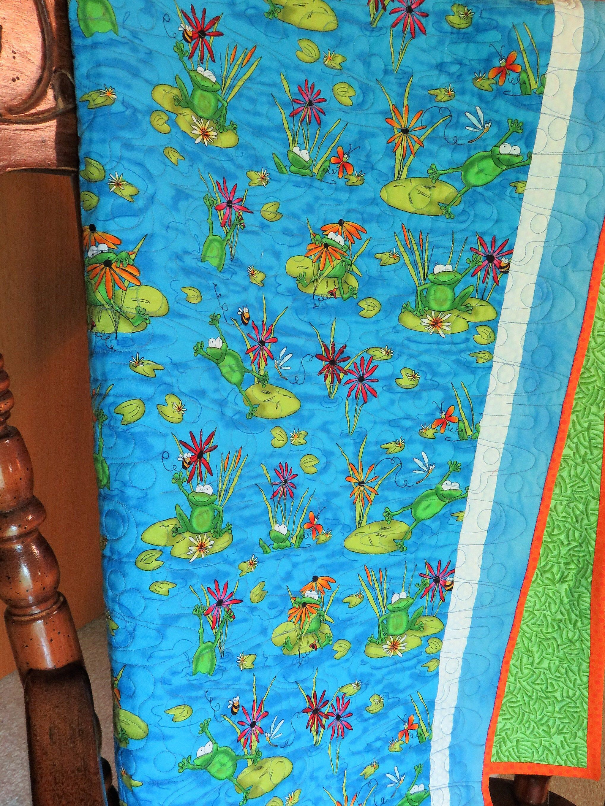 Handmade Baby Quilt for Sale Baby Frog Nursery Frog Pond