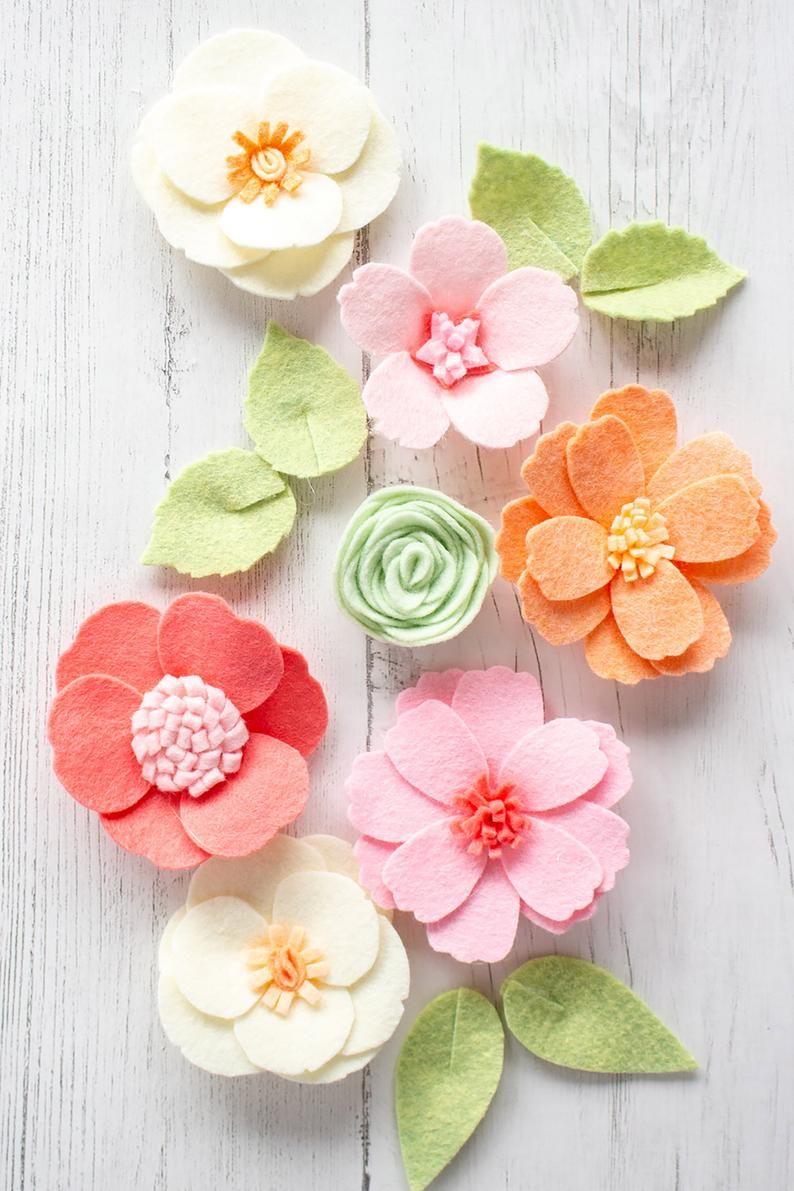 Felt Flower PATTERNS Template; 5 no-sew felt or paper flowers; Pattern PDF, SVG cut file; Party favors, wreaths, Cricut, Silhouette