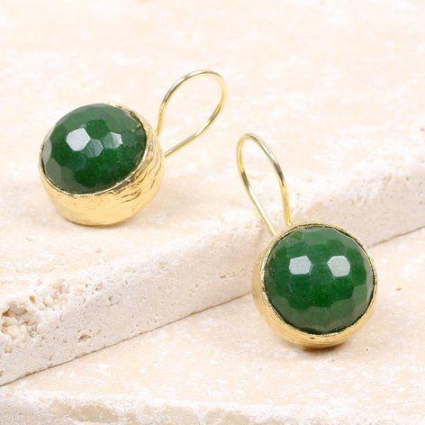 Ottoman Hands Green Agate One Stone Drop Earrings At Lisaangel Co Uk