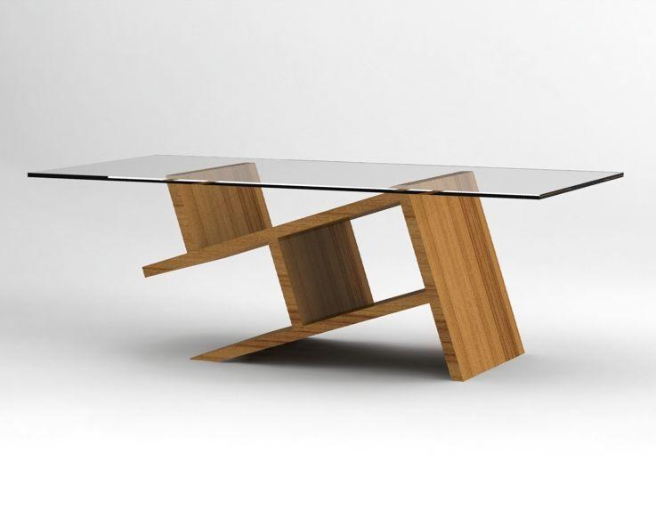 dise o de mesa centro de madera con superficie de vidrio