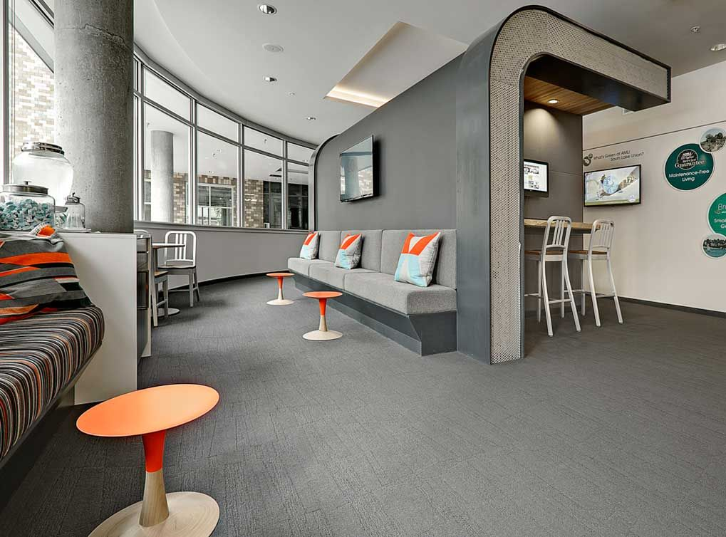 Leasing office at AMLI South Lake Union, a luxury