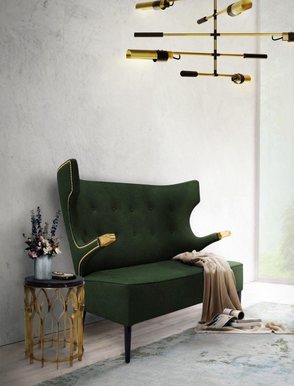 Das teurere möbel messing tisch grünem samt 2 sitzer sofa und moderne